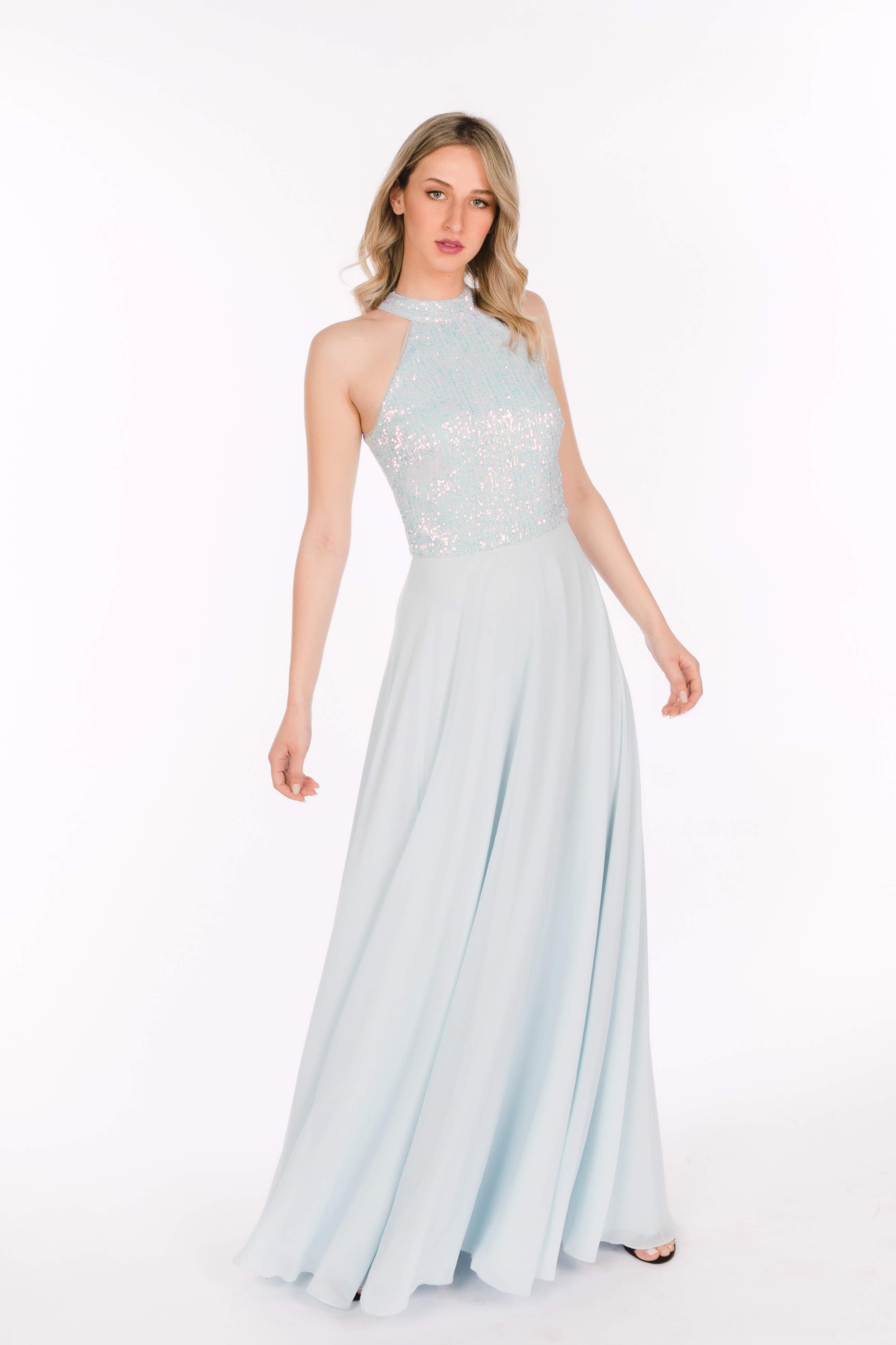 17080318b507 02.171 Αέρινο κοκέιλ φόρεμα με μπούστο απο παγέτα και φούστα απο μουσελίνα