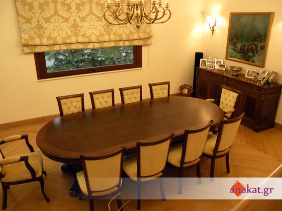 Τραπεζαρία, καρέκλες και  μπουφές