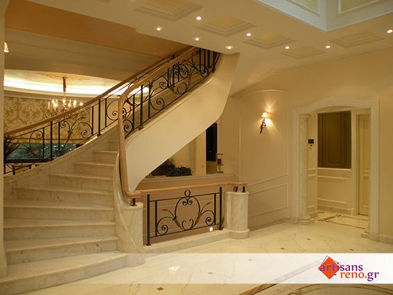 Aménagement d'espaces d'habitation nouveaux, hall d'entrée et cage d'escalier ...