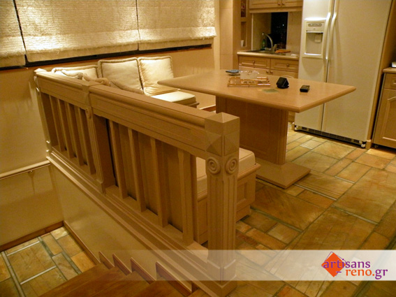 Construction spéciale d'un coin salle à manger en chêne  décapé