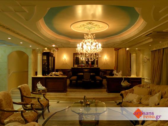 Décorations en staff dans un espace d'habitation de style  classique