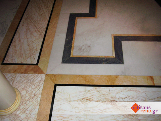 Dessins en marbre Spider, Sienne et granite Macauba
