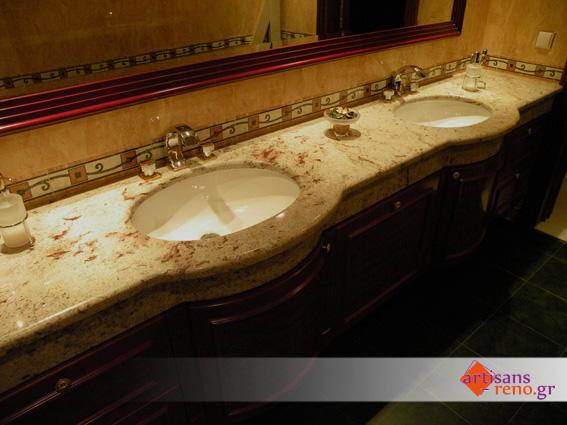 Granite veiné rouge pour plan de lavabo